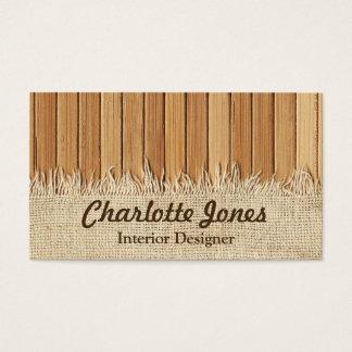 Seamless Wood Pattern & Burlap Texture Custom Name Business Card