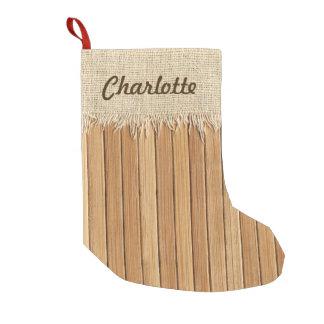 Seamless Wood Pattern & Burlap Texture Custom Name Small Christmas Stocking