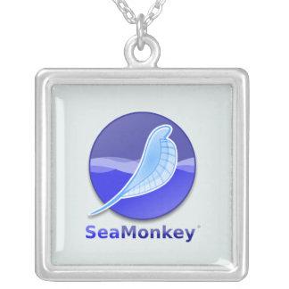 SeaMonkey Text Logo Square Pendant Necklace