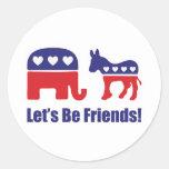 ¡Seamos amigos! Etiquetas Redondas