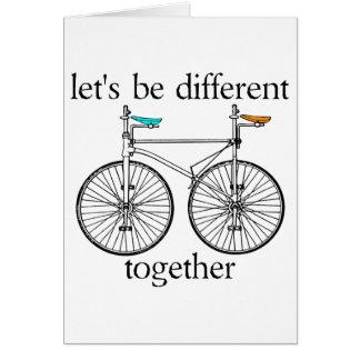 Seamos diferentes juntos tarjeta de felicitación