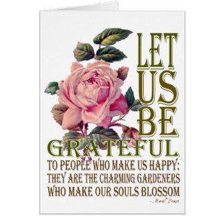 Seamos rosa del Agradecido-Rosa - espacio en blanc Tarjeta De Felicitación