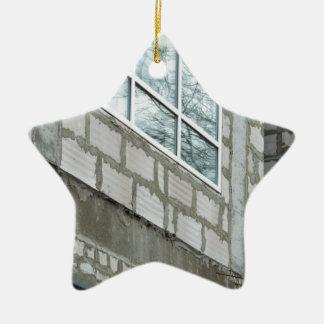 Seams rough walls are covered with cement blocks ceramic ornament