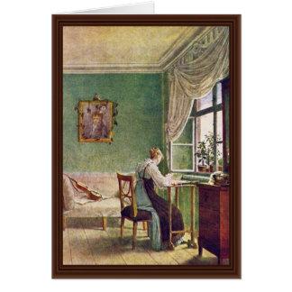 Seamstress At The Window Card