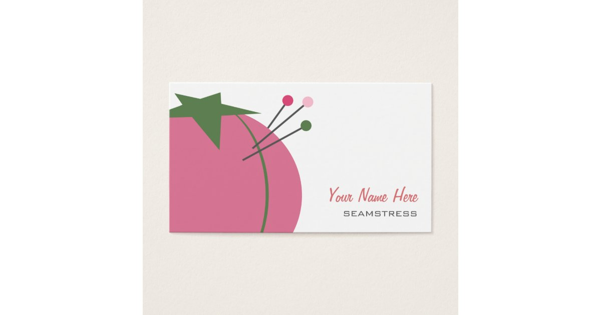 Seamstress Business Card - Pink Pin Cushion | Zazzle.com