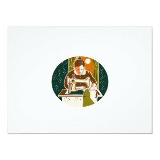 Seamstress Dressmaker Sewing Oval Retro 6.5x8.75 Paper Invitation Card