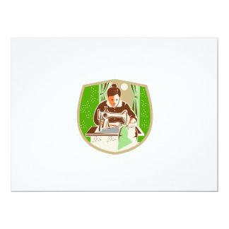 Seamstress Dressmaker Sewing Shield Retro 6.5x8.75 Paper Invitation Card