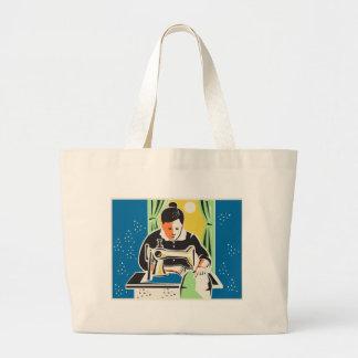 Seamstress Dressmaker Tailor Vintage Large Tote Bag