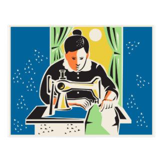 Seamstress Dressmaker Tailor Vintage Postcard