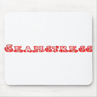 Seamstress Mouse Pad. Fabric and button text