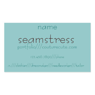 seamstress, -n.///clothier///dressmaker///needl... business card