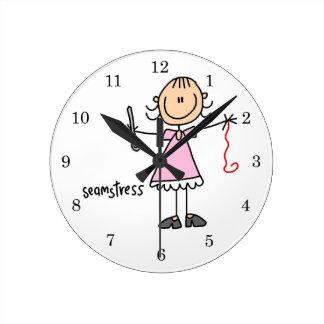 Seamstress Stick Figure Round Clock