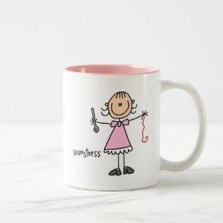 Seamstress Stick Figure Two-Tone Coffee Mug