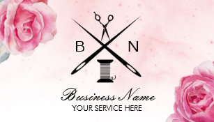 Seamstress business cards templates zazzle seamstress thread needles vintage floral sewing business card reheart Image collections