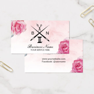 Seamstress Thread & Needles Vintage Floral Sewing Business Card