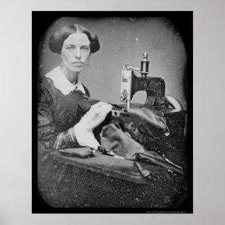 Seamstress Working Daguerreotype 1853 Poster