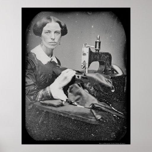 Seamstress Working Daguerreotype 1853 Print