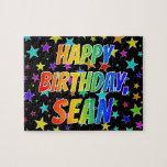"[ Thumbnail: ""Sean"" First Name, Fun ""Happy Birthday"" Jigsaw Puzzle ]"