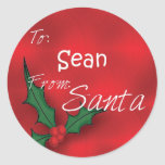 Sean Personalized Holly Label110 Classic Round Sticker