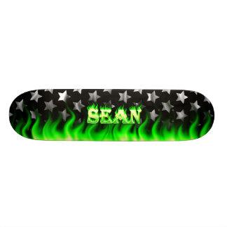 Sean skateboard green fire and flames design