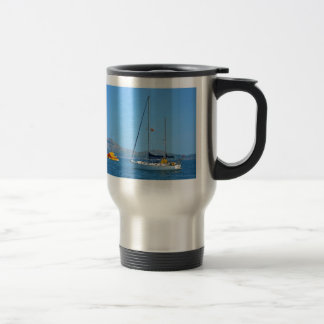 Seaplane and yacht. 15 oz stainless steel travel mug