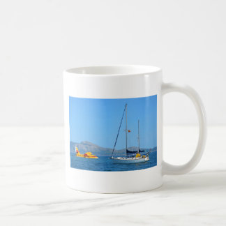 Seaplane and yacht. classic white coffee mug