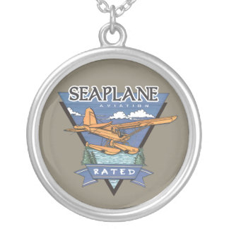 Seaplane Aviation Rated Silver Plated Necklace