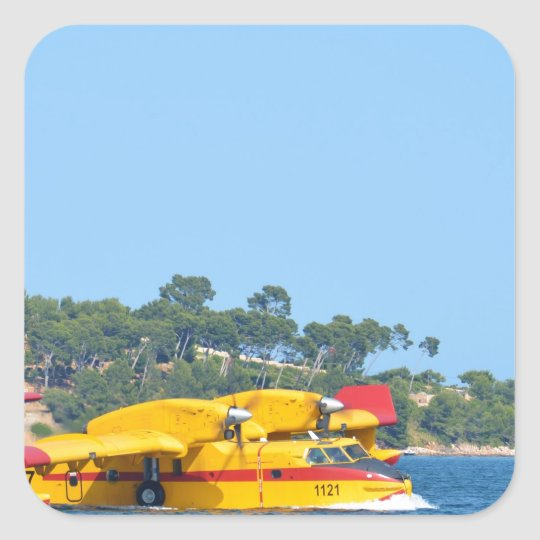 Seaplane taxiing on water. square sticker