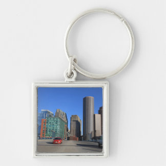 Seaport Blvd bridge and Boston skyline.Boston is Keychain