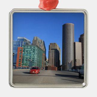 Seaport Blvd bridge and Boston skyline.Boston is Metal Ornament