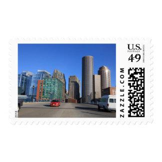 Seaport Blvd bridge and Boston skyline.Boston is Postage Stamp