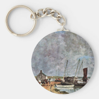 Seaport By Boudin Eugène Keychain