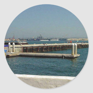 Seaport Village Aircraft Carriers Pier Water Bay D Classic Round Sticker
