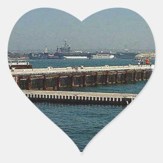 Seaport Village Aircraft Carriers Pier Water Bay D Heart Sticker