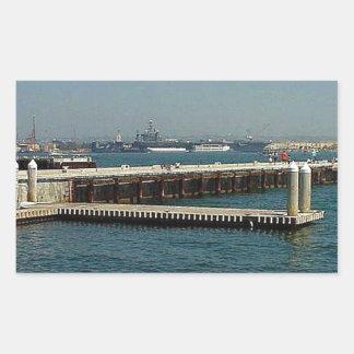 Seaport Village Aircraft Carriers Pier Water Bay D Rectangular Sticker