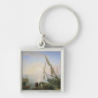 Seaport with sunset keychains