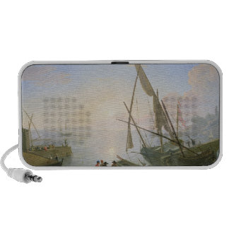 Seaport with sunset portable speaker