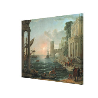 Seaport with the Embarkation Canvas Print