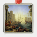 Seaport with the Embarkation of St. Ursula Metal Ornament