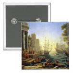 Seaport with the Embarkation of St. Ursula Pinback Button