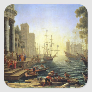Seaport with the Embarkation of St. Ursula Square Sticker