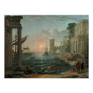 Seaport with the Embarkation Poster
