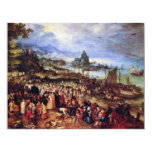 Seaport With The Preaching Of Christ By Bruegel D. 4.25x5.5 Paper Invitation Card