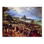 Seaport With The Preaching Of Christ By Bruegel D. Postcard