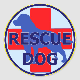 SEARCH AND RECUE DOG SARDA CLASSIC ROUND STICKER
