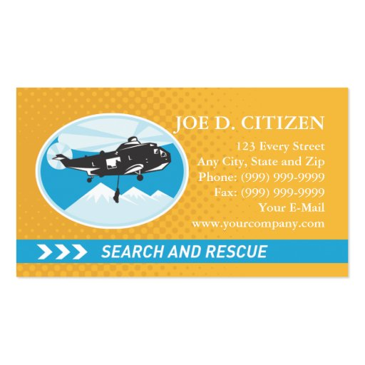 search and rescue business card