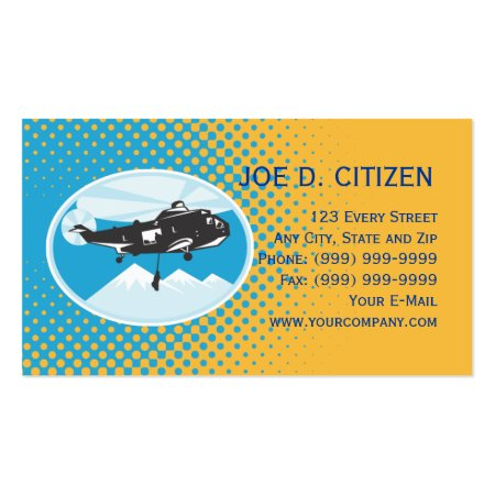 Retro Aqua Blue and Yellow Helicopter Search and Rescue Air Ambulance Business Cards