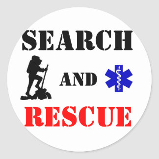 Search and Rescue round sticker with star of life