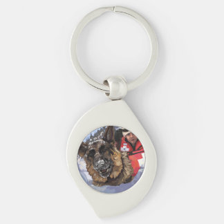 Search and Rescue Silver-Colored Swirl Metal Keychain