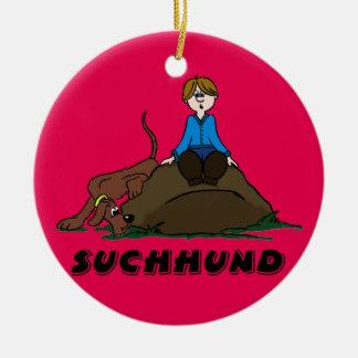 Search dog ceramic ornament